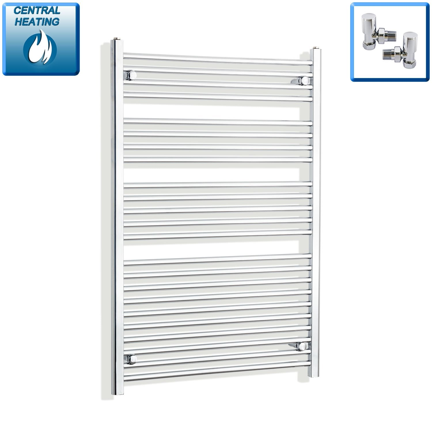 800mm Wide 1200mm High Flat Chrome Heated Towel Rail Radiator HTR,With Angled Valve