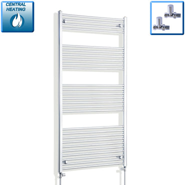 800mm Wide 1600mm High Flat Chrome Heated Towel Rail Radiator HTR,With Straight Valve