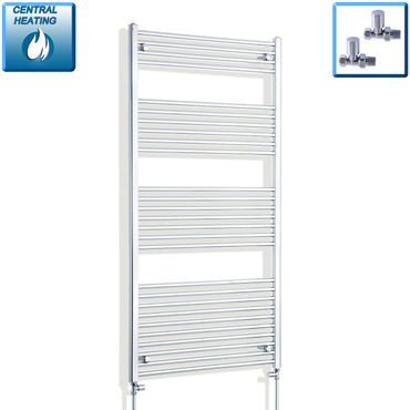 850mm Wide 1600mm High Flat Chrome Heated Towel Rail Radiator HTR,With Straight Valve
