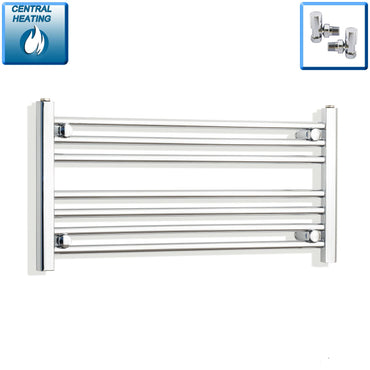 900mm Wide 400mm High Flat Chrome Heated Towel Rail Radiator HTR,With Angled Valve