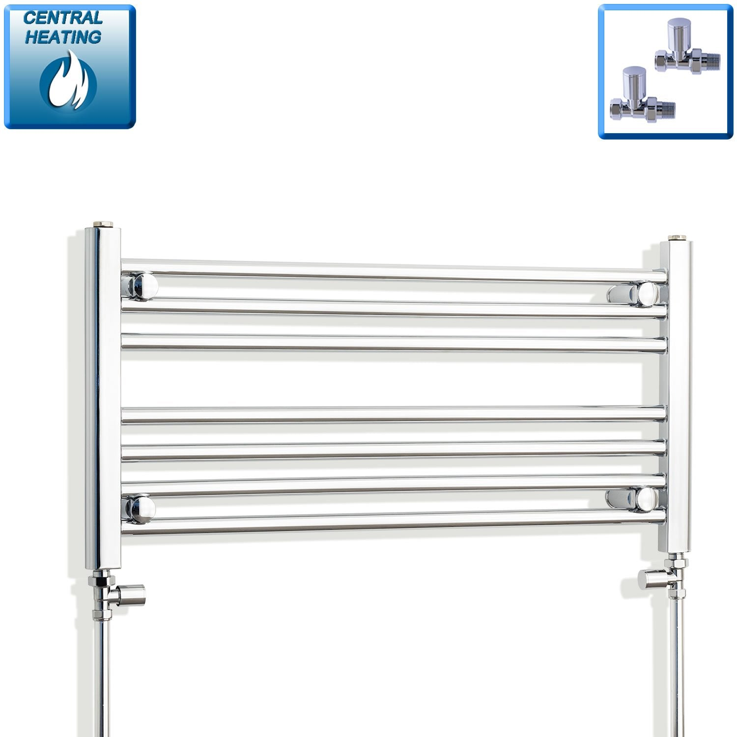750mm Wide 400mm High Flat Chrome Heated Towel Rail Radiator HTR,With Straight Valve