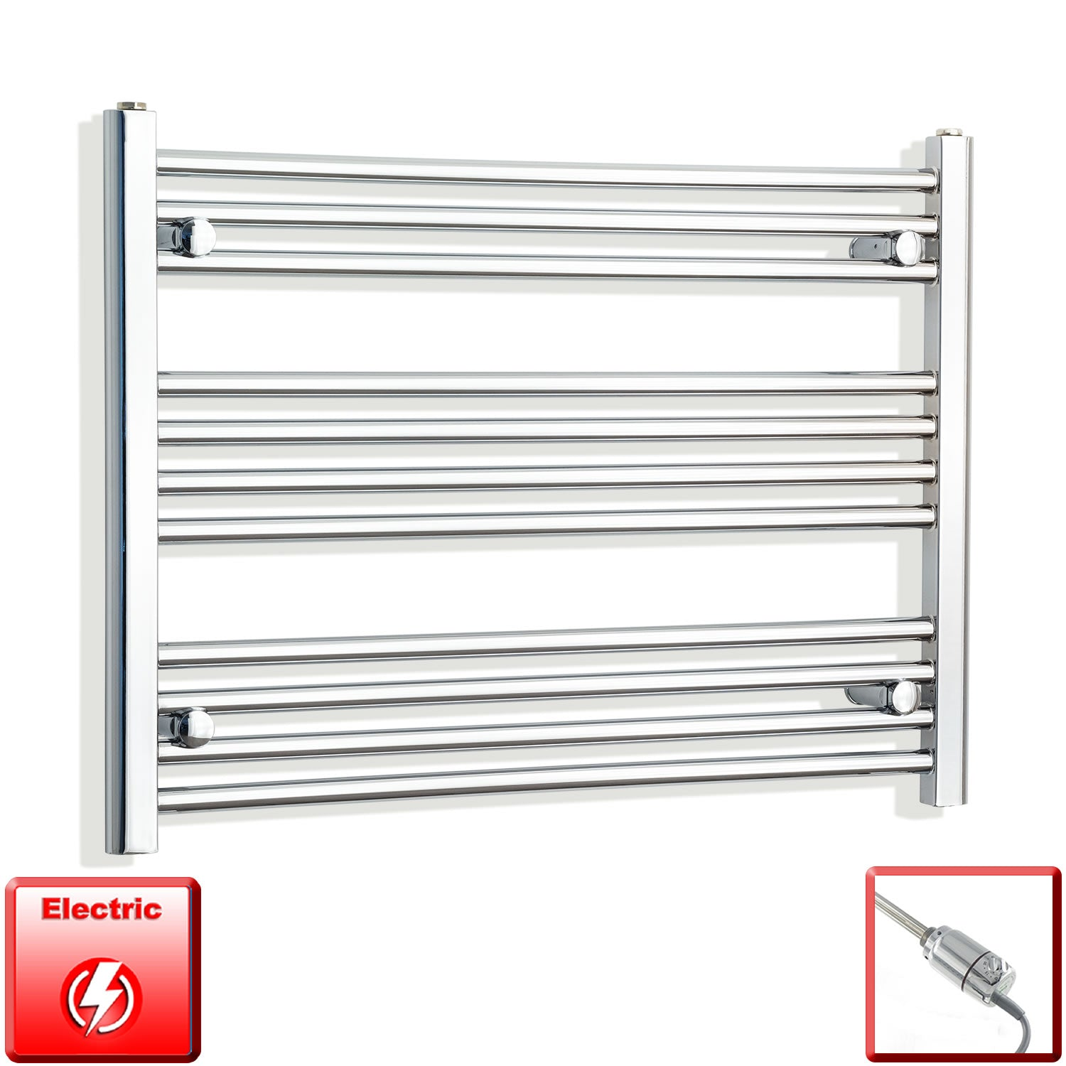 750mm Wide 600mm High Flat Or Curved Chrome Pre-Filled Electric Heated Towel Rail Radiator HTR,GT Thermostatic / Straight