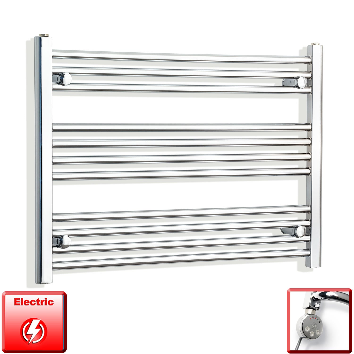 750mm Wide 600mm High Flat Or Curved Chrome Pre-Filled Electric Heated Towel Rail Radiator HTR,MEG Thermostatic Element / Straight