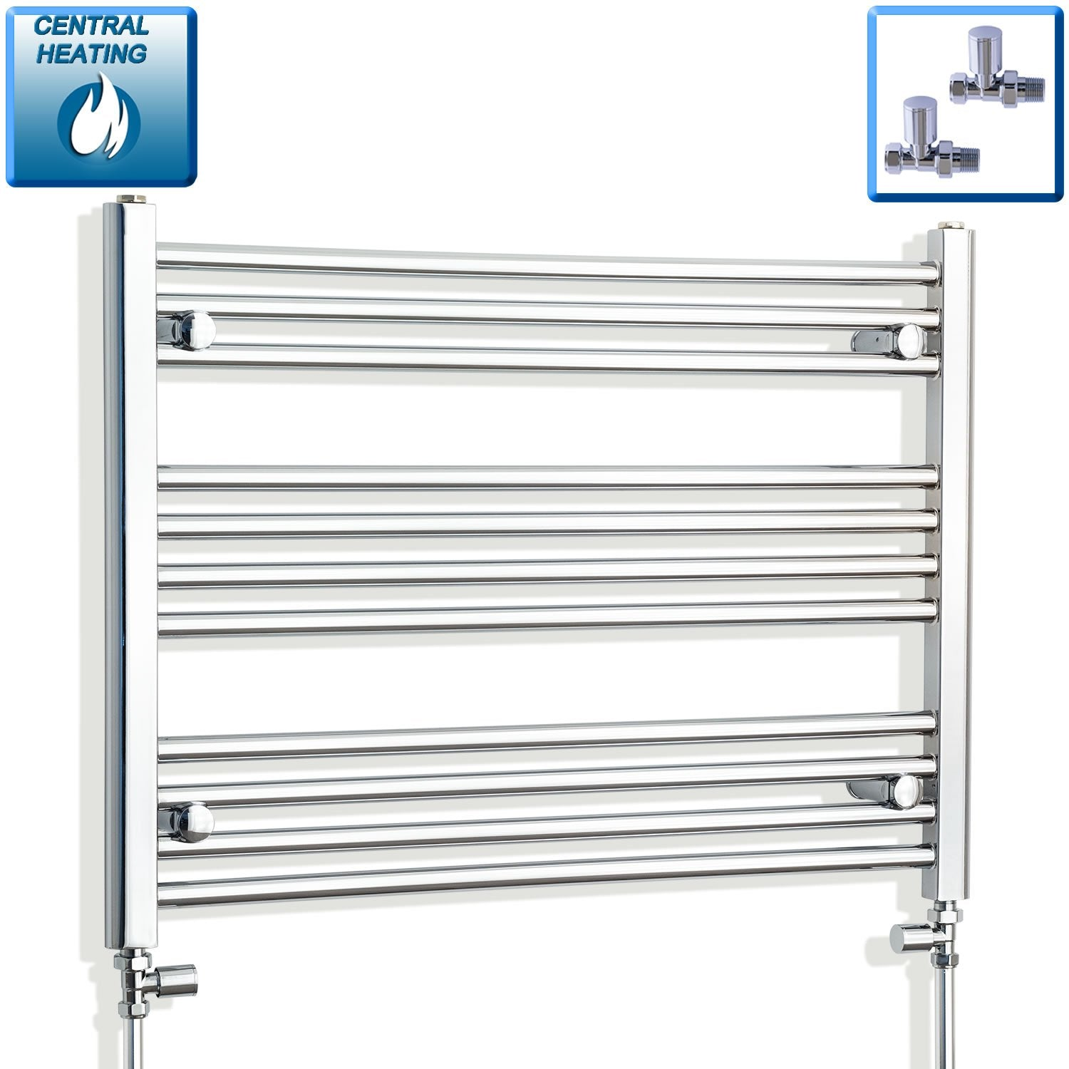 750mm Wide 600mm High Flat Chrome Heated Towel Rail Radiator HTR,With Straight Valve