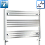 850mm Wide 600mm High Flat Chrome Heated Towel Rail Radiator HTR,With Straight Valve
