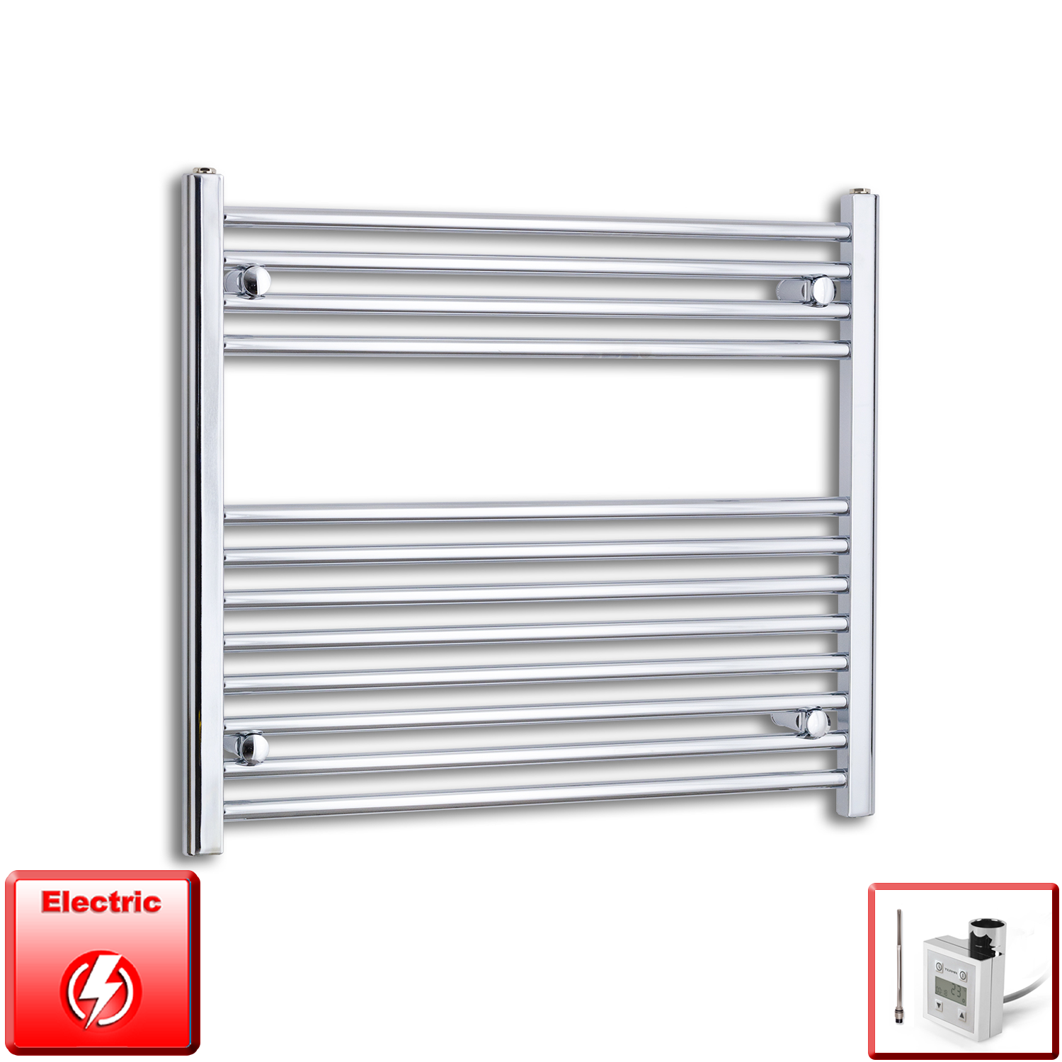 800mm Wide 700mm High Flat Chrome Pre-Filled Electric Heated Towel Rail Radiator HTR,KTX-3 Thermostatic Element