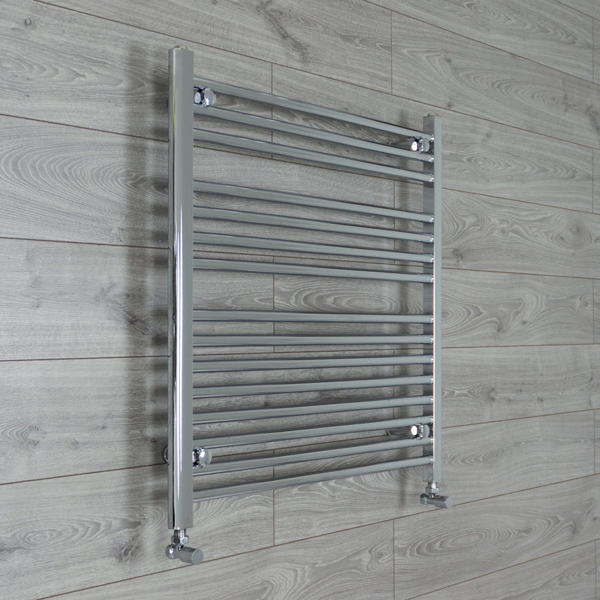 800mm Wide 800mm High Flat Chrome Heated Towel Rail Radiator HTR,With Angled Valve