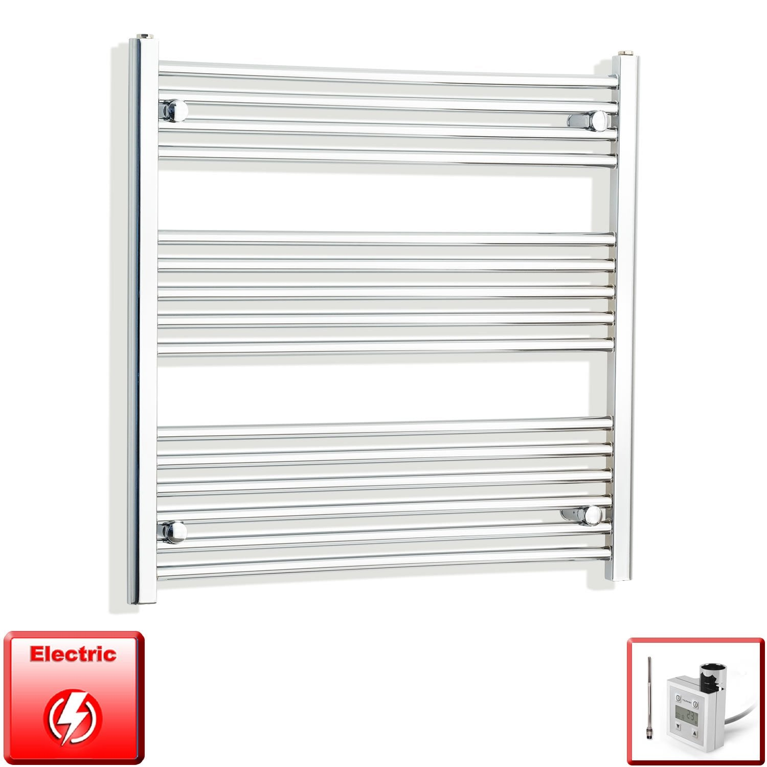 750mm Wide 800mm High Flat Or Curved Chrome Pre-Filled Electric Heated Towel Rail Radiator HTR,KTX-3 Thermostatic Element / Straight