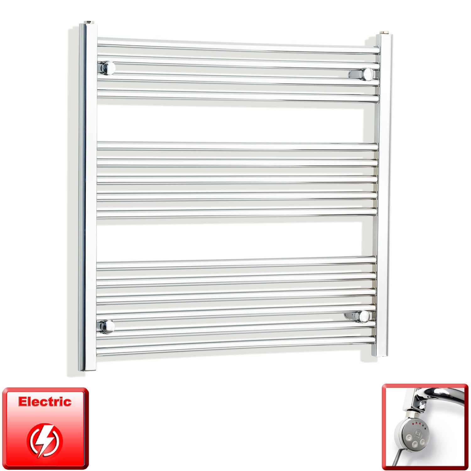 750mm Wide 800mm High Flat Or Curved Chrome Pre-Filled Electric Heated Towel Rail Radiator HTR,MEG Thermostatic Element / Straight