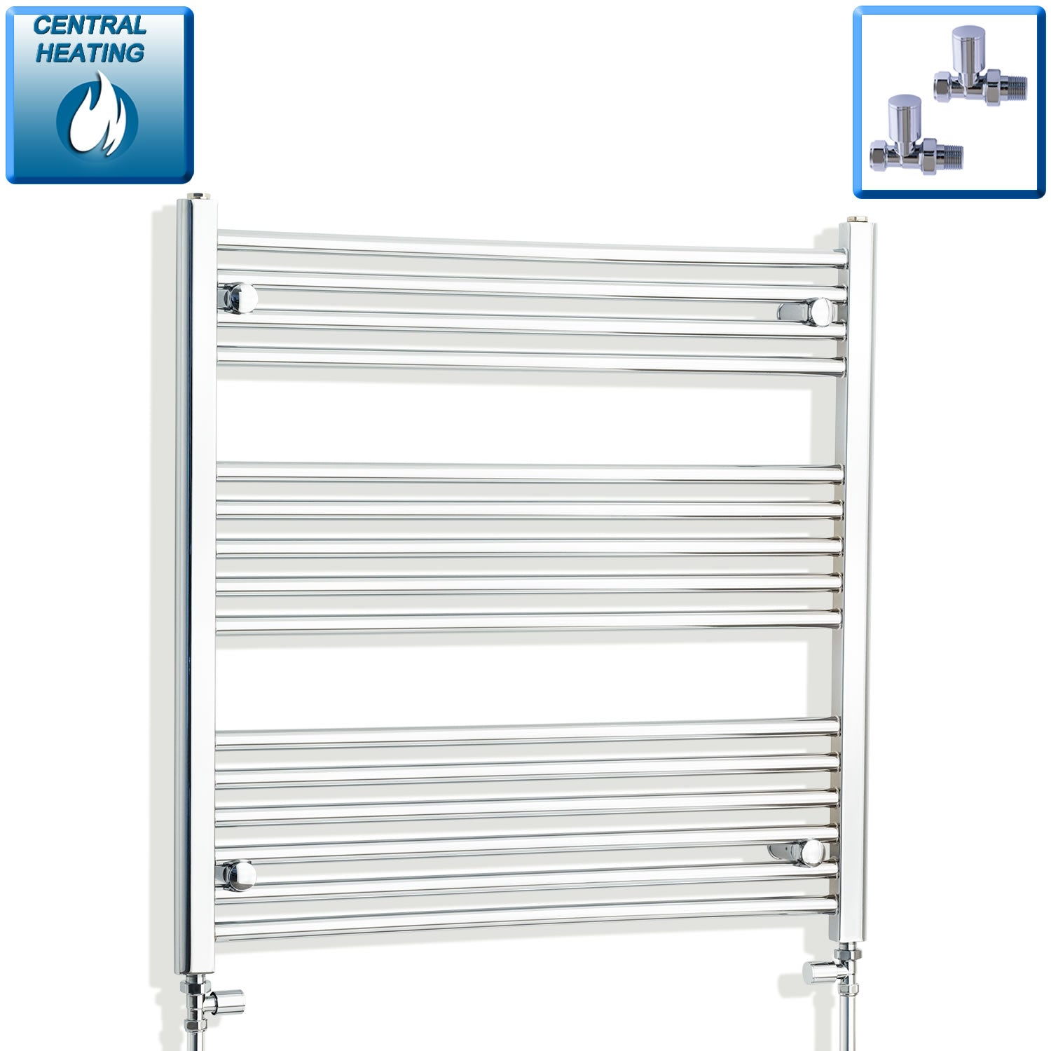 750mm Wide 800mm High Flat Chrome Heated Towel Rail Radiator HTR,With Straight Valve
