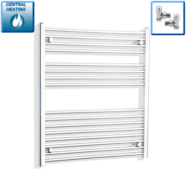 900mm Wide 900mm High Flat Chrome Heated Towel Rail Radiator HTR,With Angled Valve