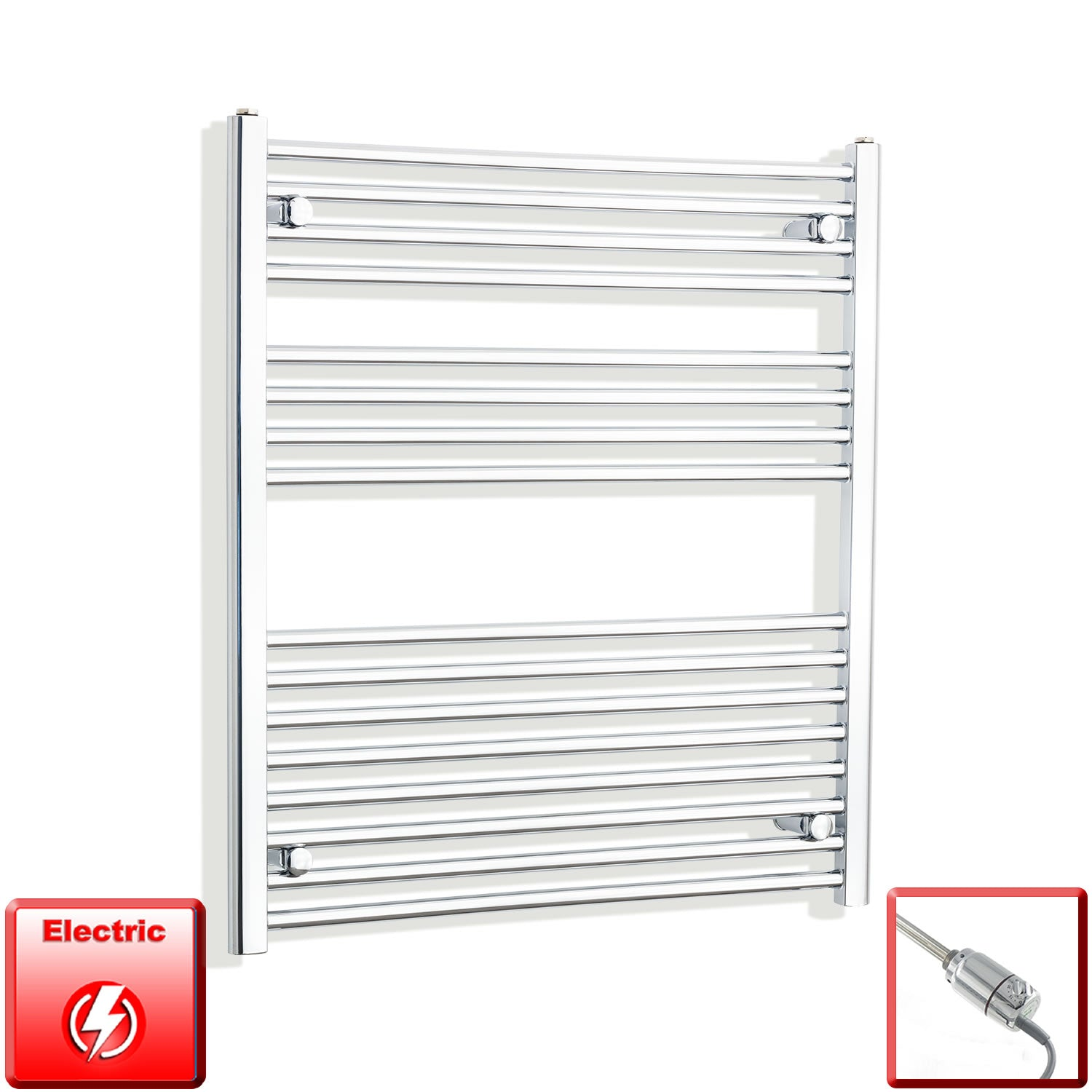 800mm Wide 900mm High Flat Chrome Pre-Filled Electric Heated Towel Rail Radiator HTR,GT Thermostatic
