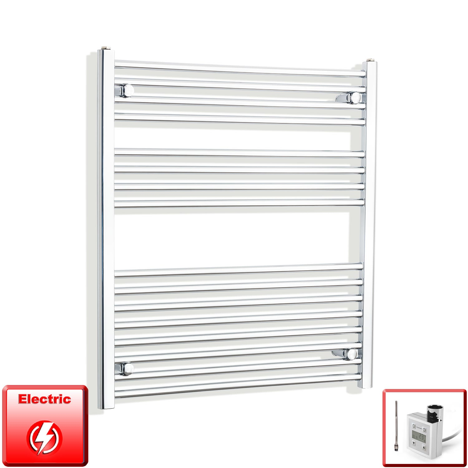 800mm Wide 900mm High Flat Chrome Pre-Filled Electric Heated Towel Rail Radiator HTR,KTX-3 Thermostatic Element