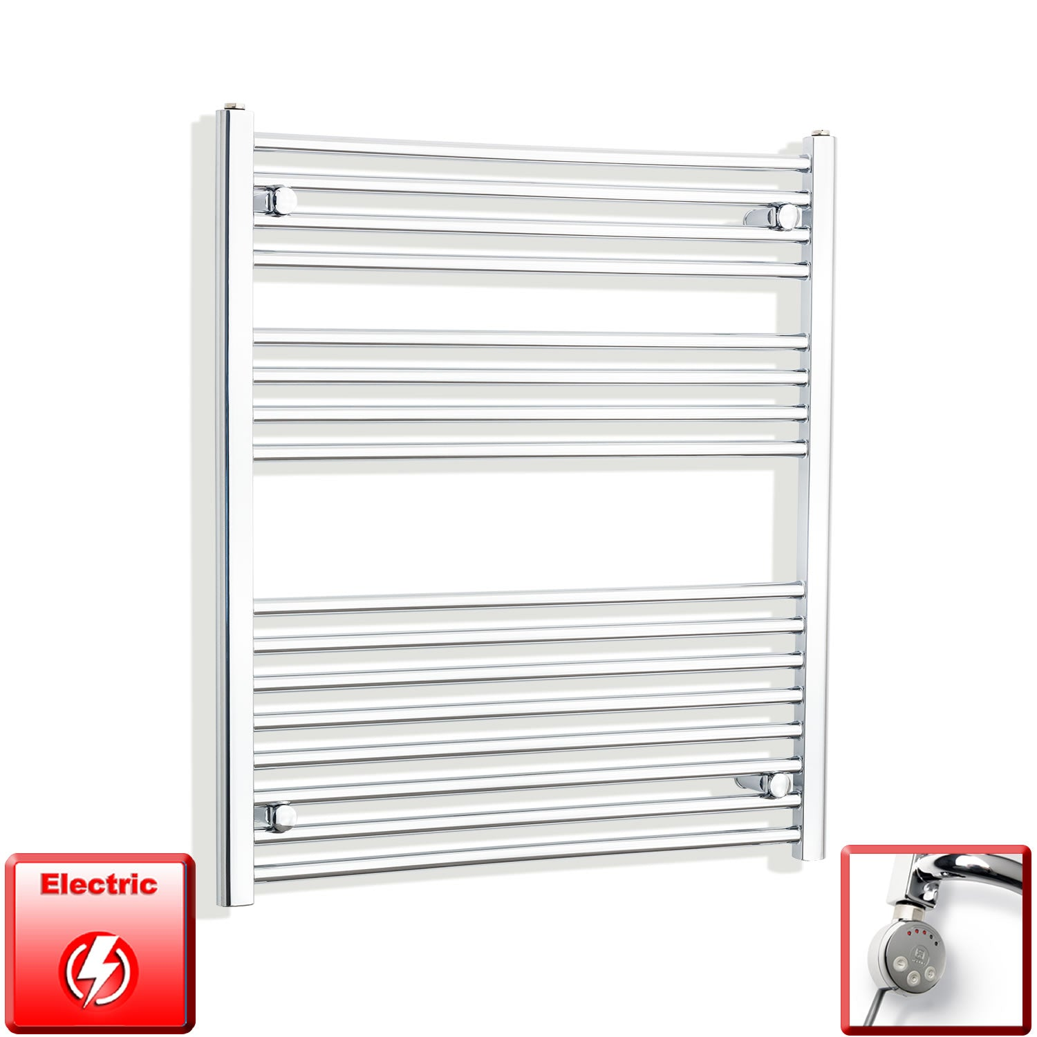 800mm Wide 900mm High Flat Chrome Pre-Filled Electric Heated Towel Rail Radiator HTR,MEG Thermostatic Element