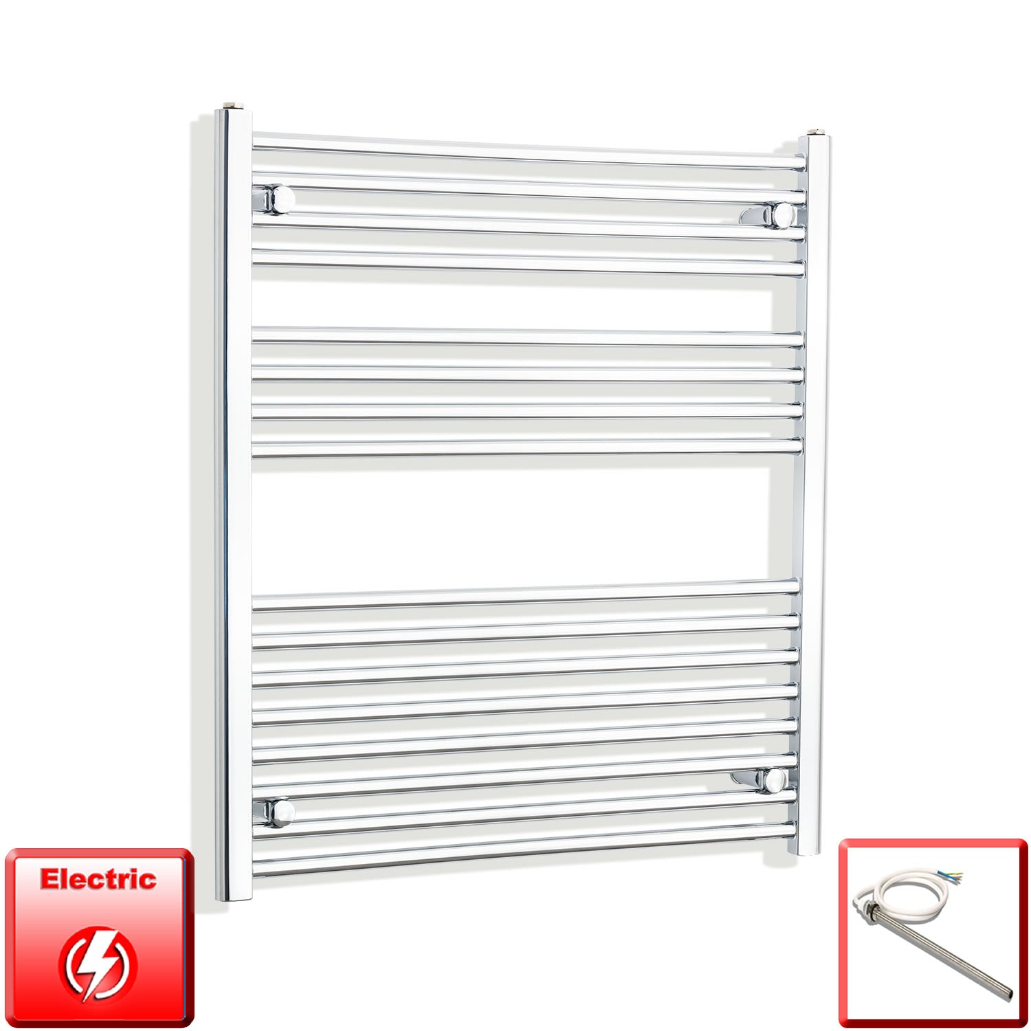 800mm Wide 900mm High Flat Chrome Pre-Filled Electric Heated Towel Rail Radiator HTR,Single Heat Element