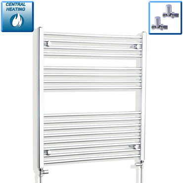 800mm Wide 900mm High Flat Chrome Heated Towel Rail Radiator HTR,With Straight Valve