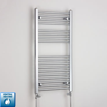 500mm Wide 1000mm High Flat Chrome Heated Towel Rail Radiator HTR,With Straight Valve
