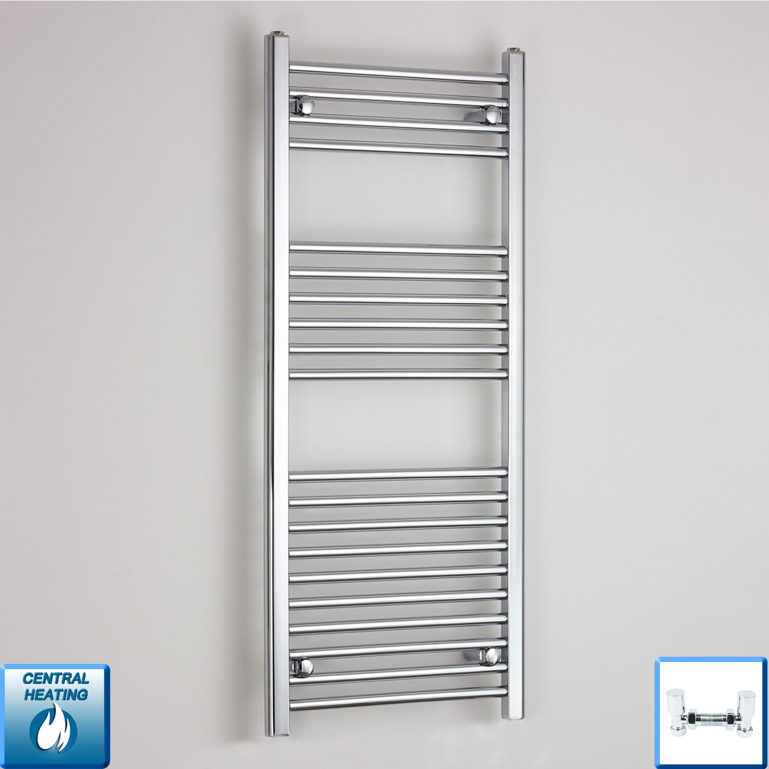 600mm Wide 1200mm High Flat Chrome Heated Towel Rail Radiator HTR,With Angled Valve