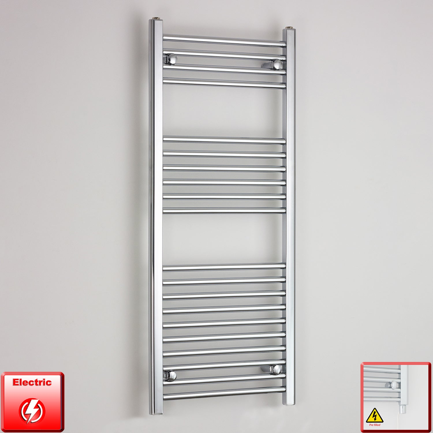 400mm Wide 1200mm High Flat Or Curved Chrome Pre-Filled Electric Heated Towel Rail Radiator HTR,Straight / Single Heat Element