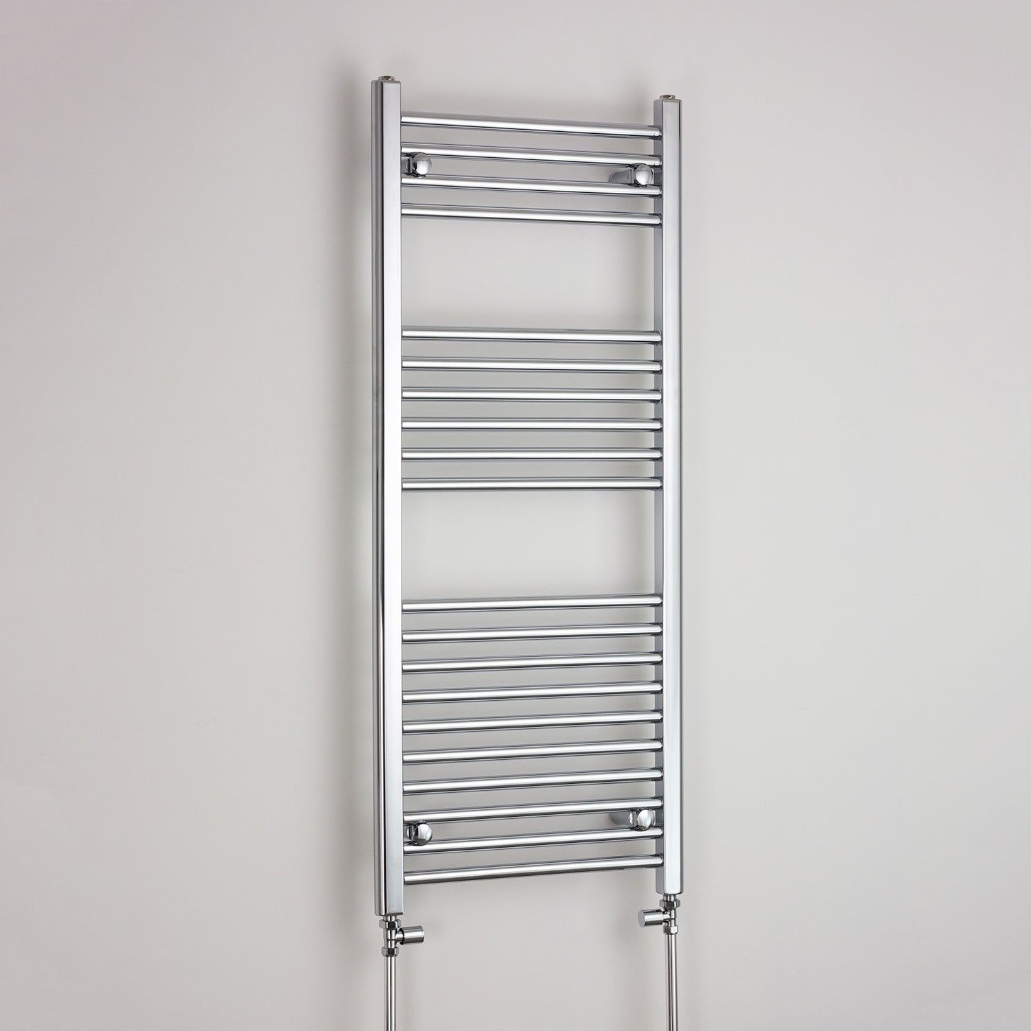 400mm Wide 1200mm High Flat Chrome Heated Towel Rail Radiator HTR,With Straight Valve