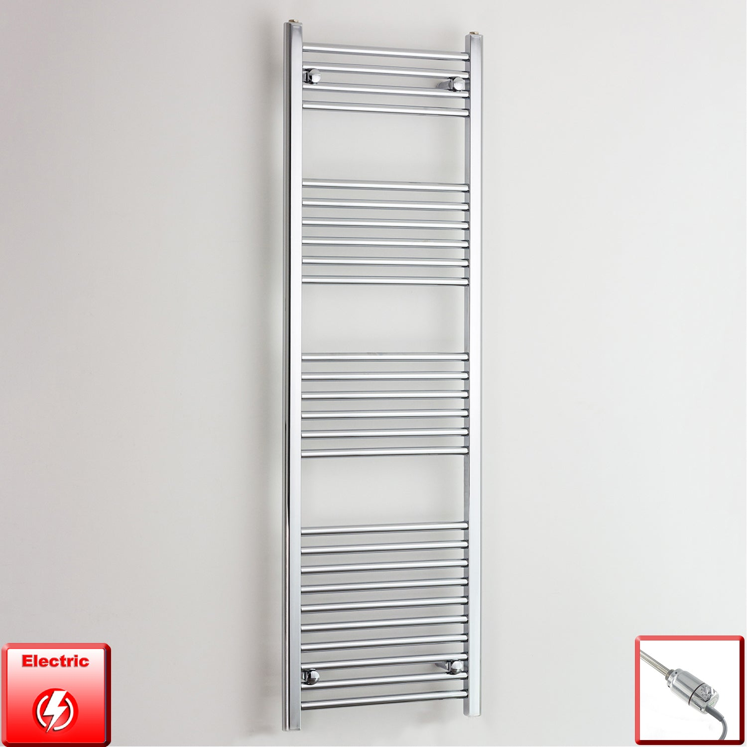 400mm Wide 1600mm High Straight Chrome Pre-Filled Electric Heated Towel Rail Radiator HTR