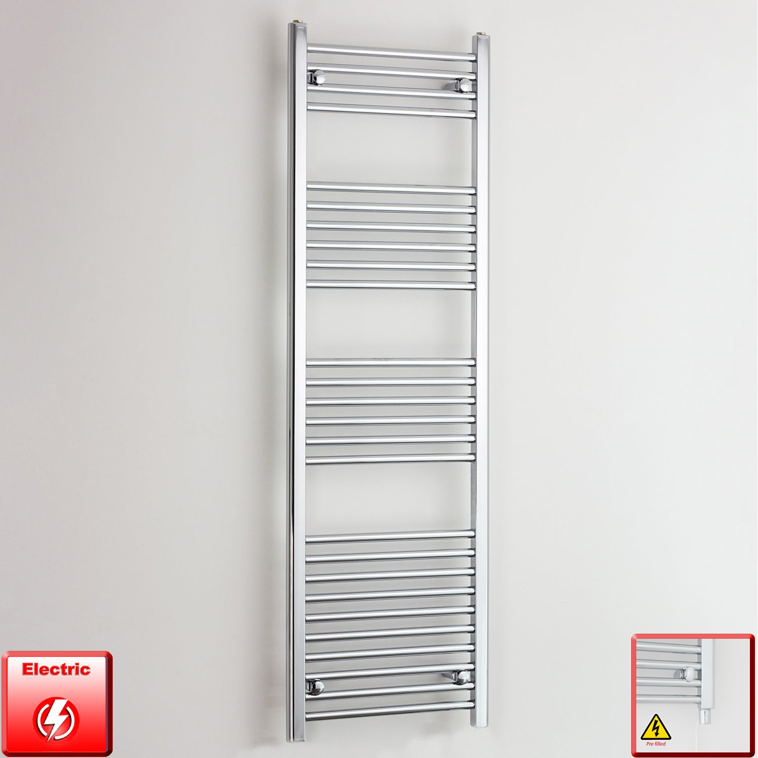 400mm Wide 1600mm High Straight Chrome Pre-Filled Electric Heated Towel Rail Radiator HTR,Straight / Single Heat Element