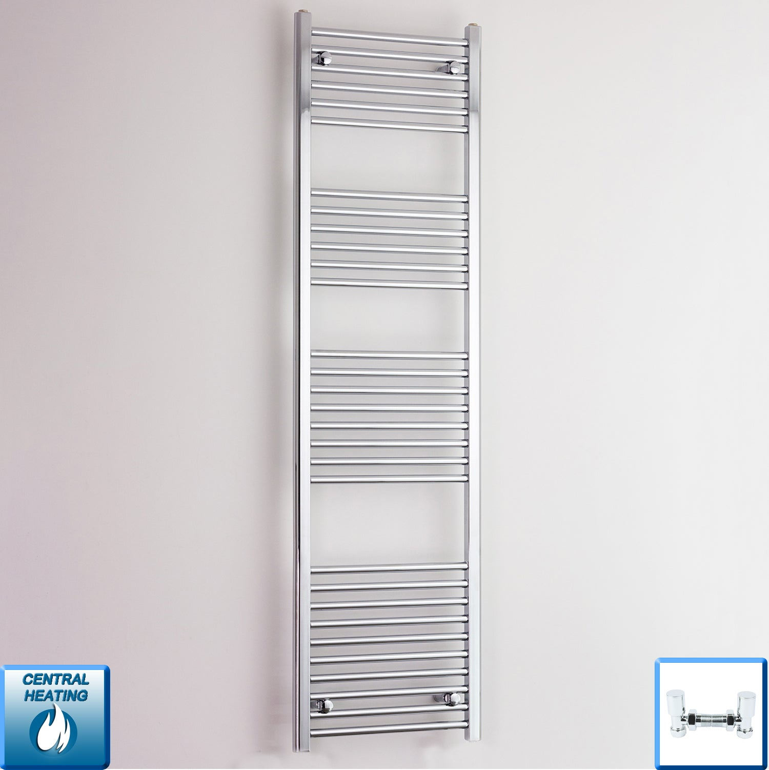 600mm Wide 1800mm High Flat Chrome Heated Towel Rail Radiator HTR,With Angled Valve