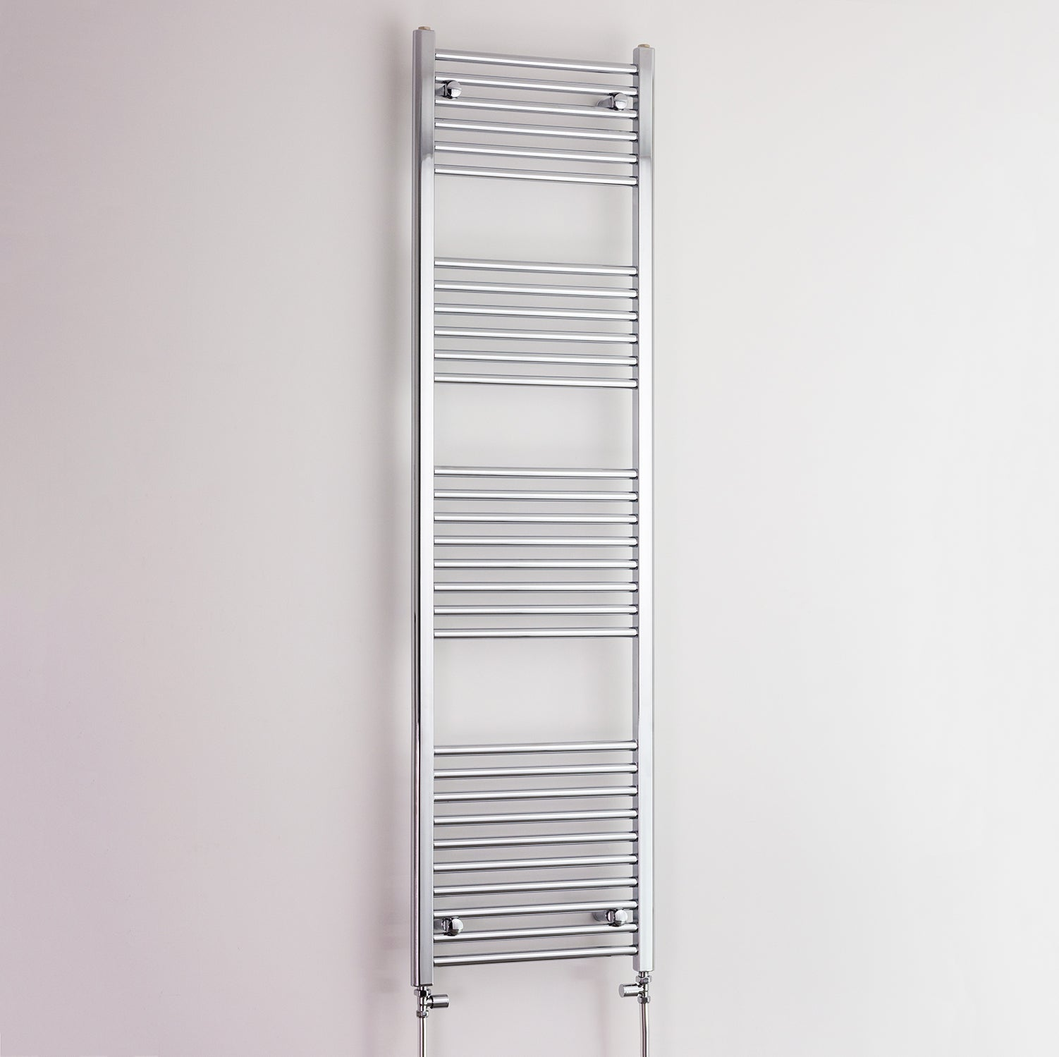 400mm Wide 1800mm High Flat Chrome Heated Towel Rail Radiator HTR,With Straight Valve