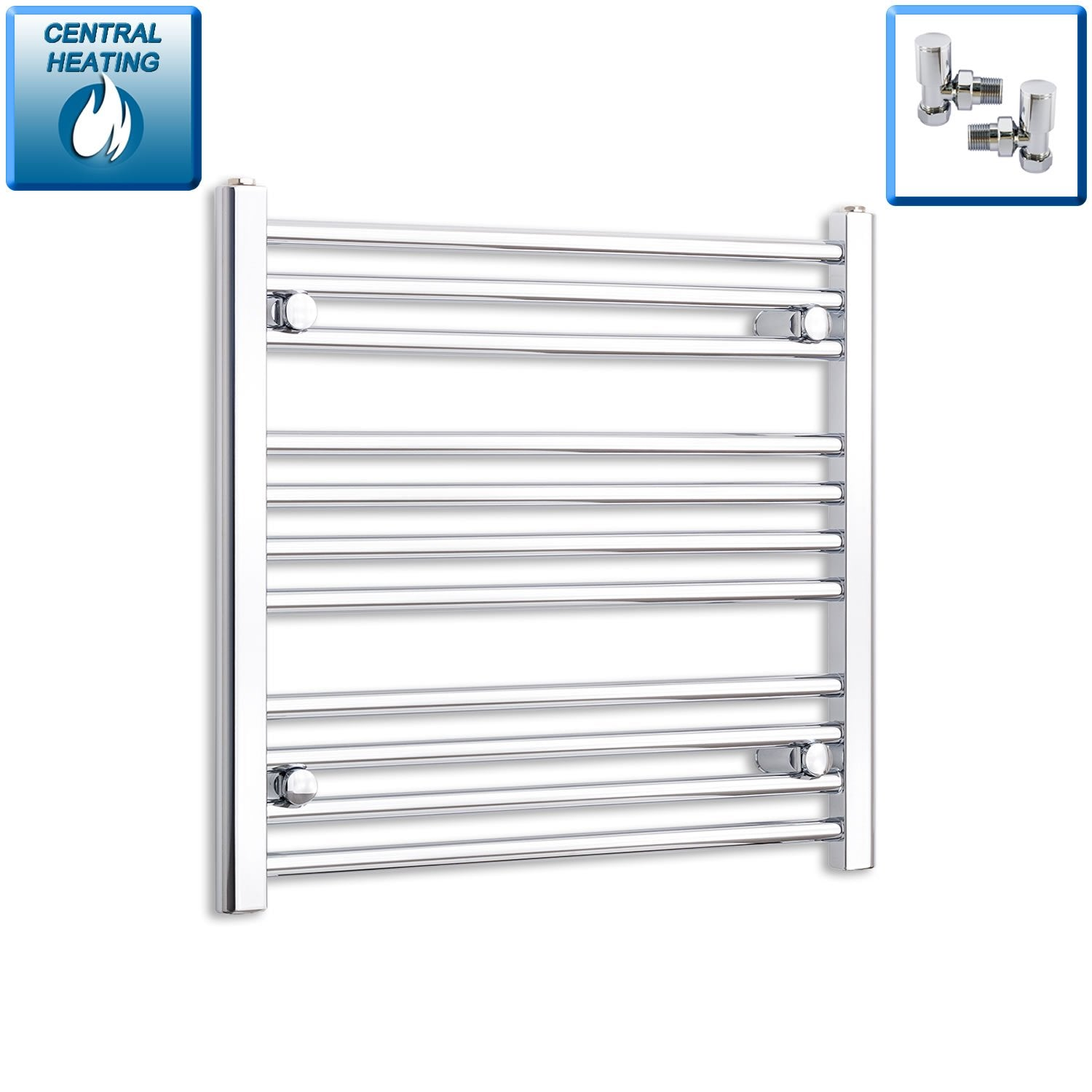 700mm Wide 600mm High Curved Chrome Heated Towel Rail Radiator HTR,With Angled Valve