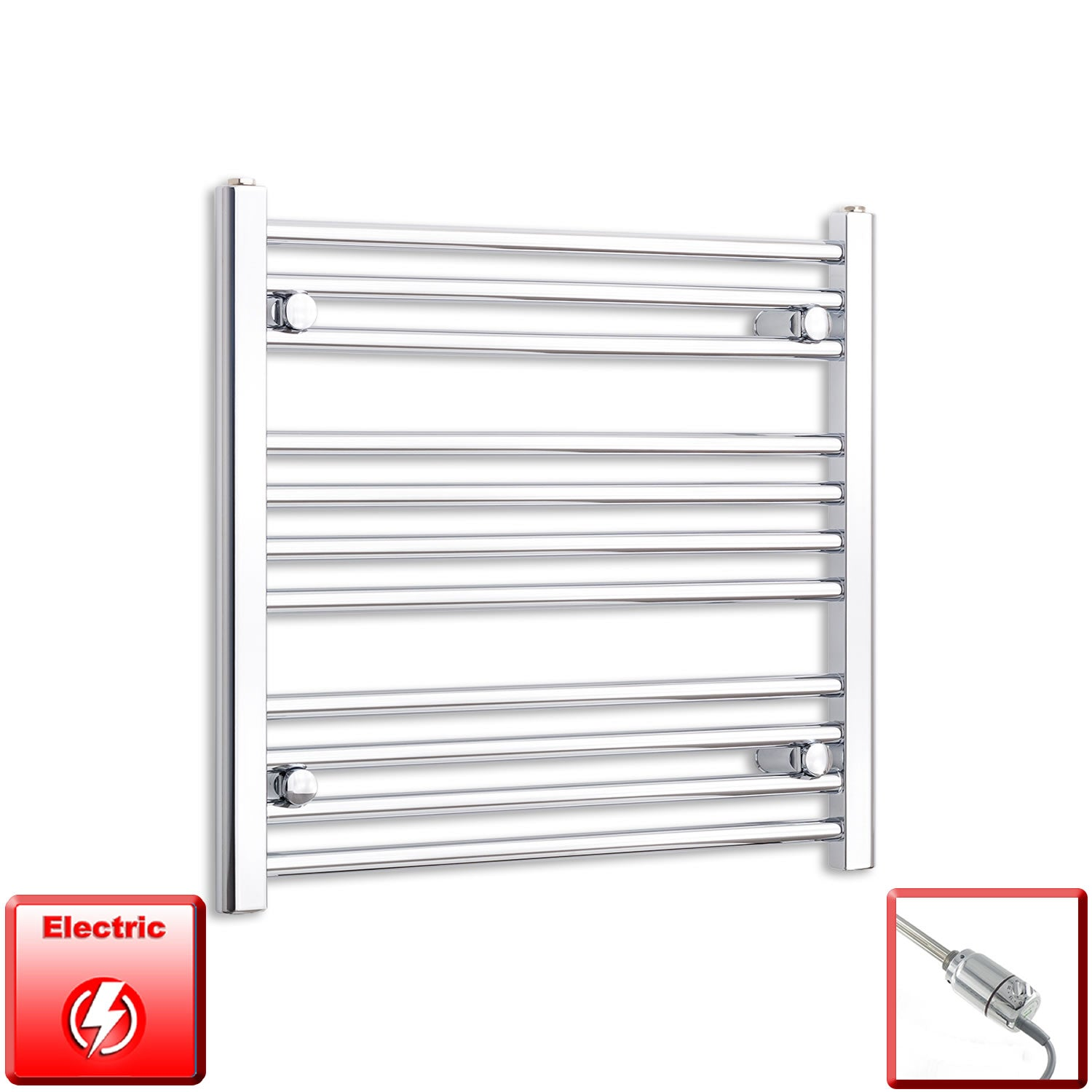 700mm Wide 600mm High Flat Or Curved Chrome Pre-Filled Electric Heated Towel Rail Radiator HTR,GT Thermostatic / Straight