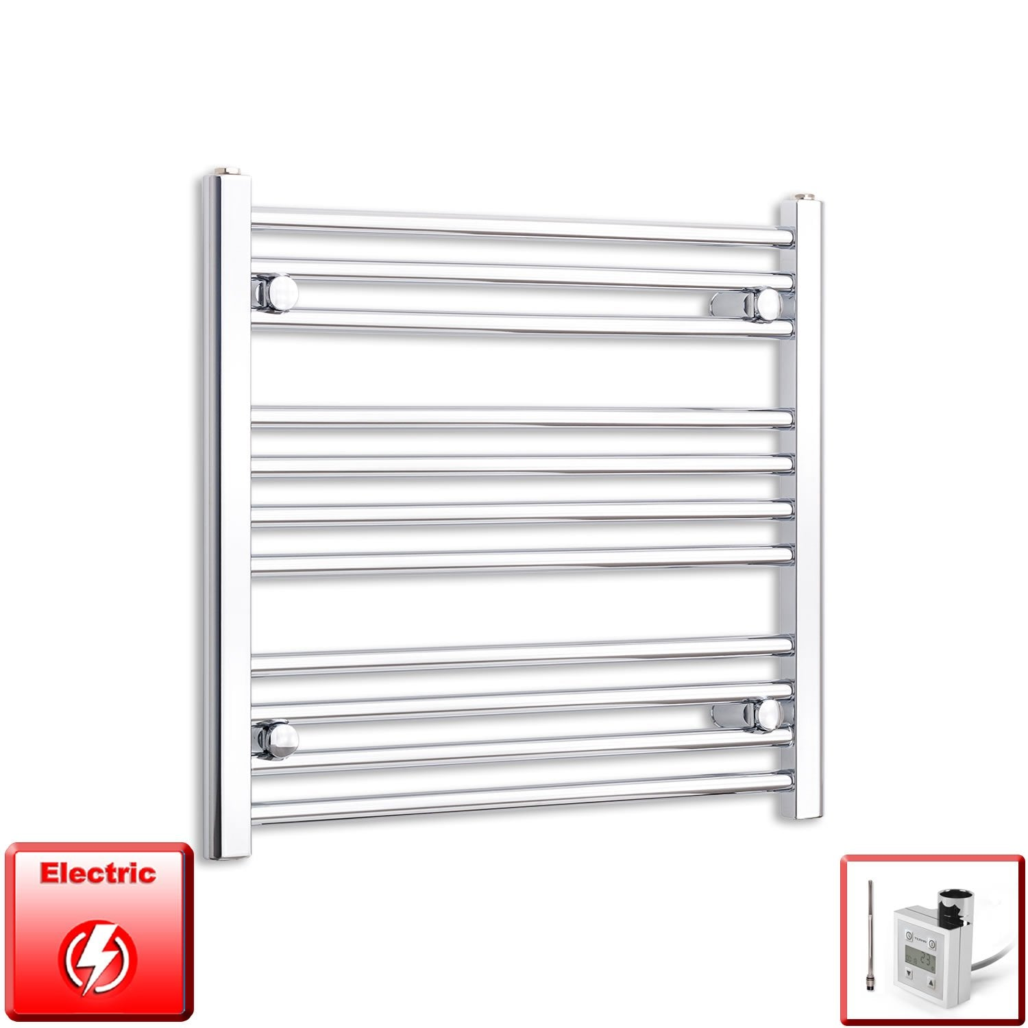 650mm Wide 600mm High Flat Chrome Pre-Filled Electric Heated Towel Rail Radiator HTR,KTX-3 Thermostatic Element