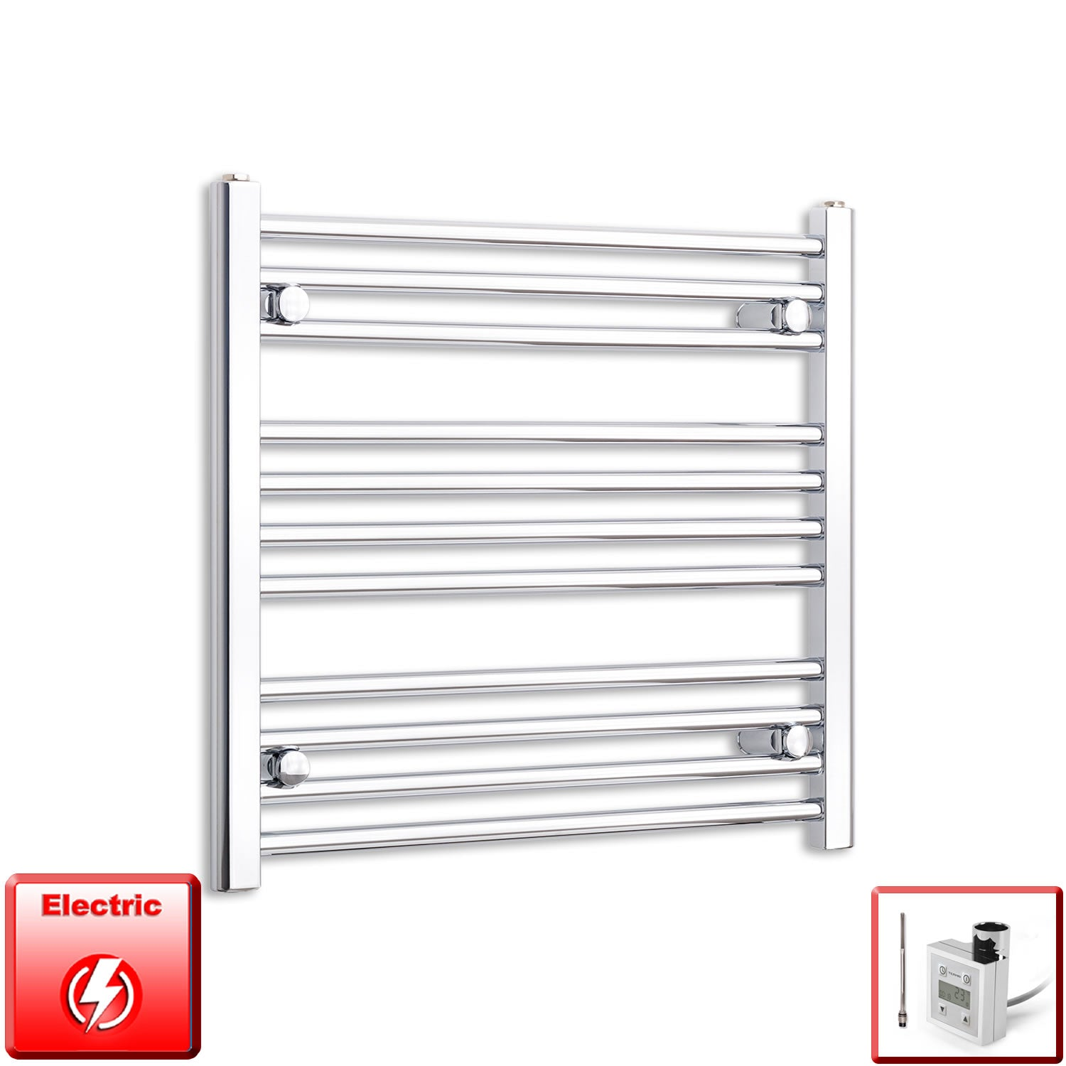 700mm Wide 600mm High Flat Or Curved Chrome Pre-Filled Electric Heated Towel Rail Radiator HTR,KTX-3 Thermostatic Element / Straight