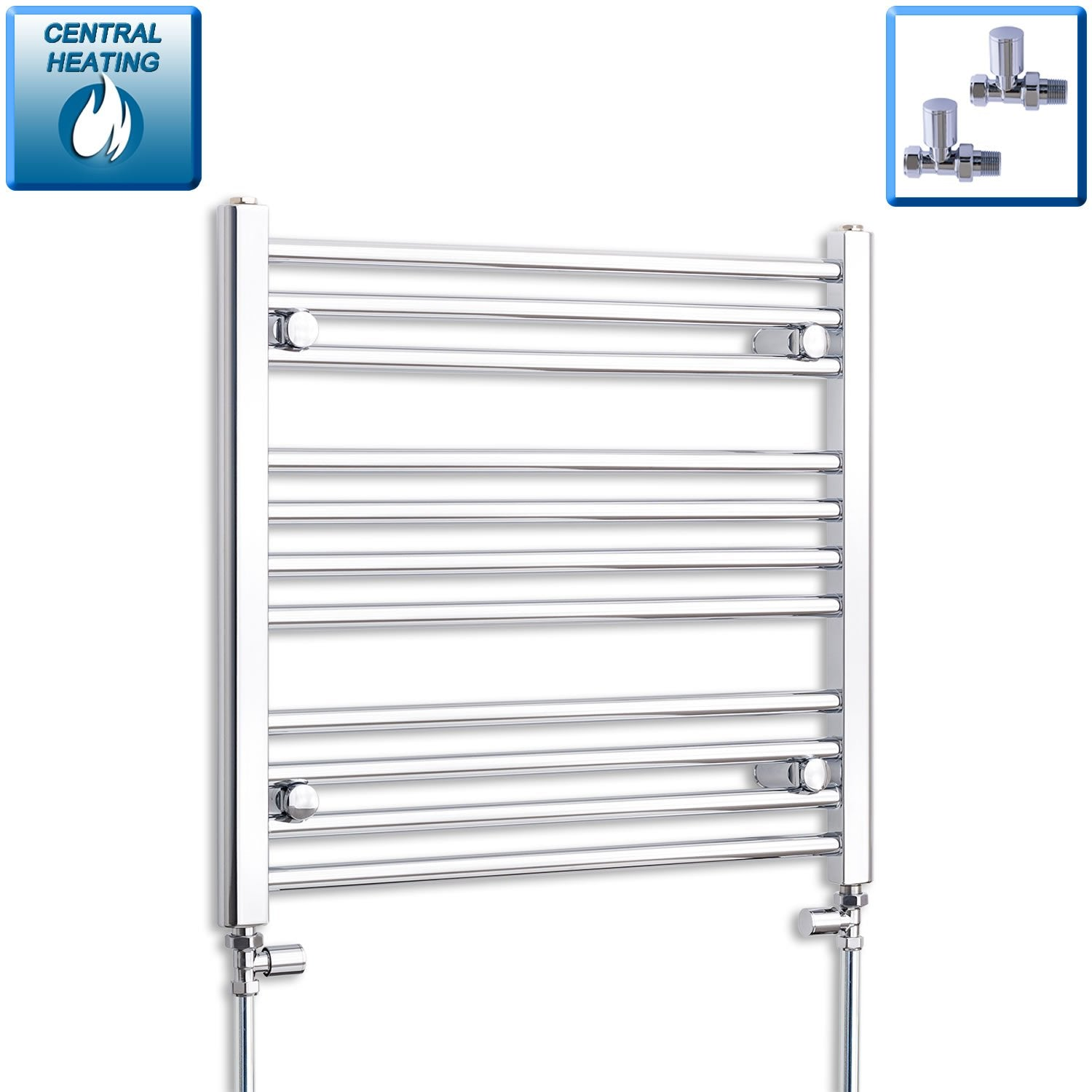 650mm Wide 600mm High Flat Chrome Heated Towel Rail Radiator HTR,With Straight Valve