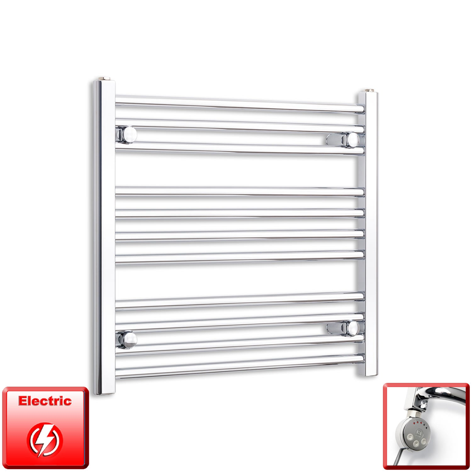 700mm Wide 600mm High Flat Or Curved Chrome Pre-Filled Electric Heated Towel Rail Radiator HTR,MEG Thermostatic Element / Straight