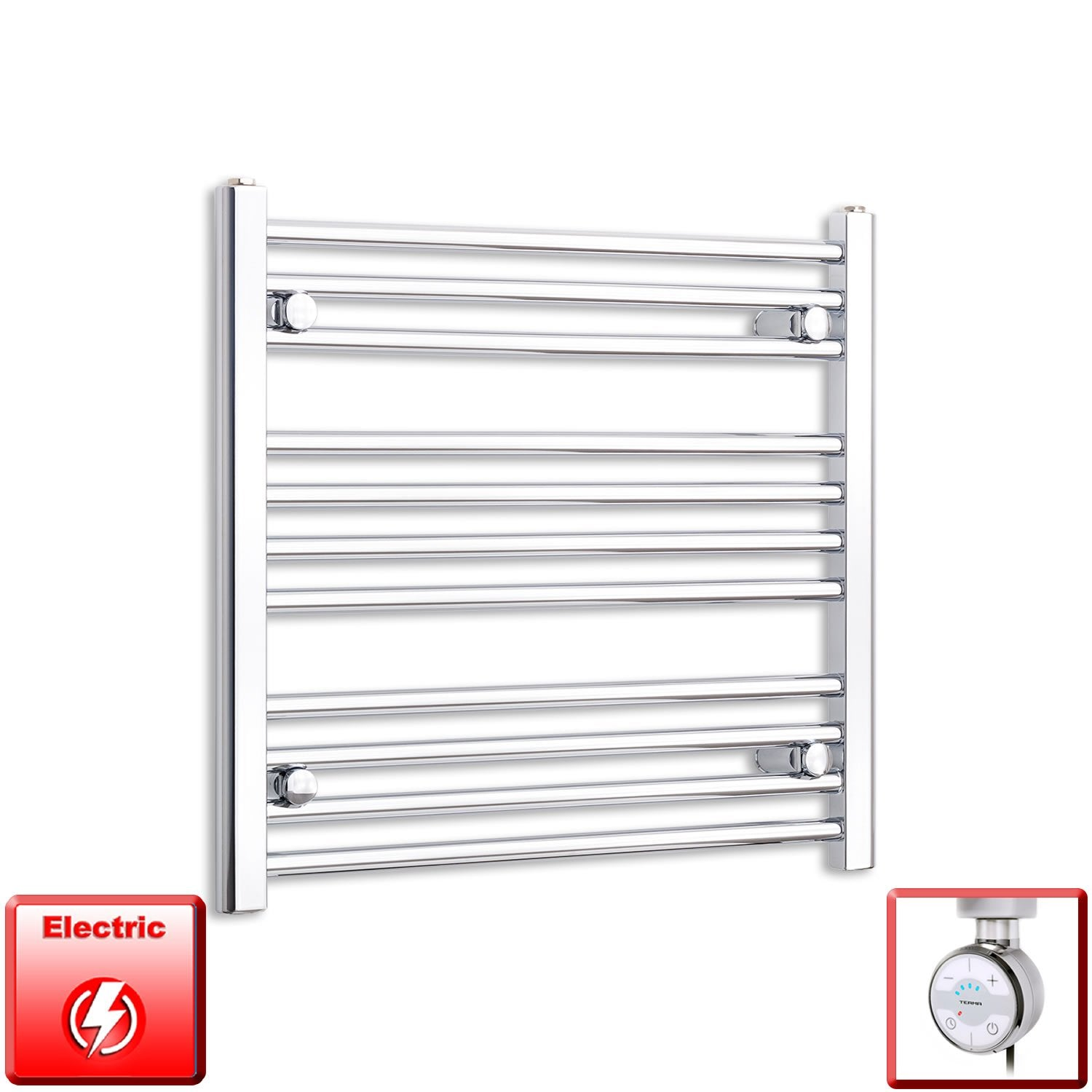 650mm Wide 600mm High Flat Chrome Pre-Filled Electric Heated Towel Rail Radiator HTR,MOA Thermostatic Element