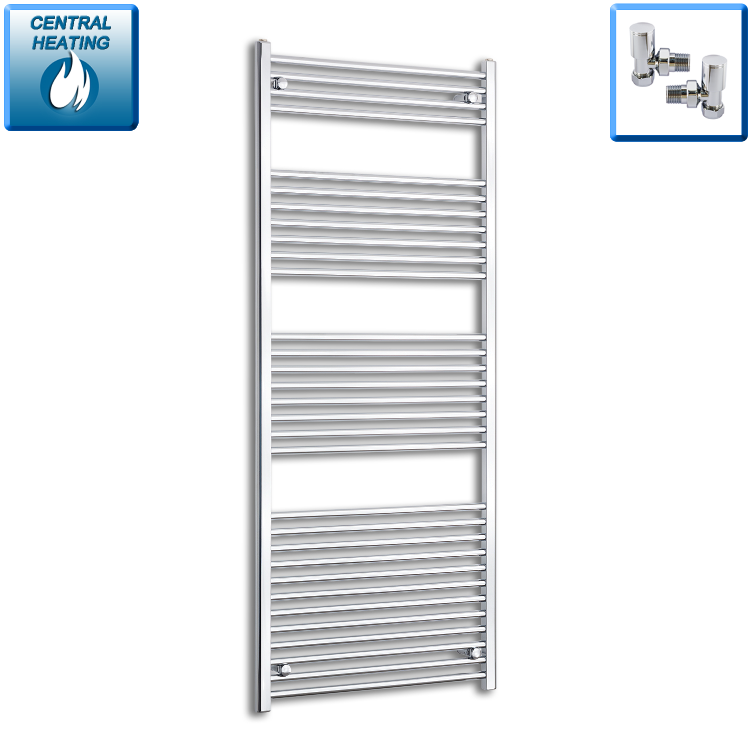 750mm Wide 1800mm High Flat Chrome Heated Towel Rail Radiator HTR,With Angled Valve