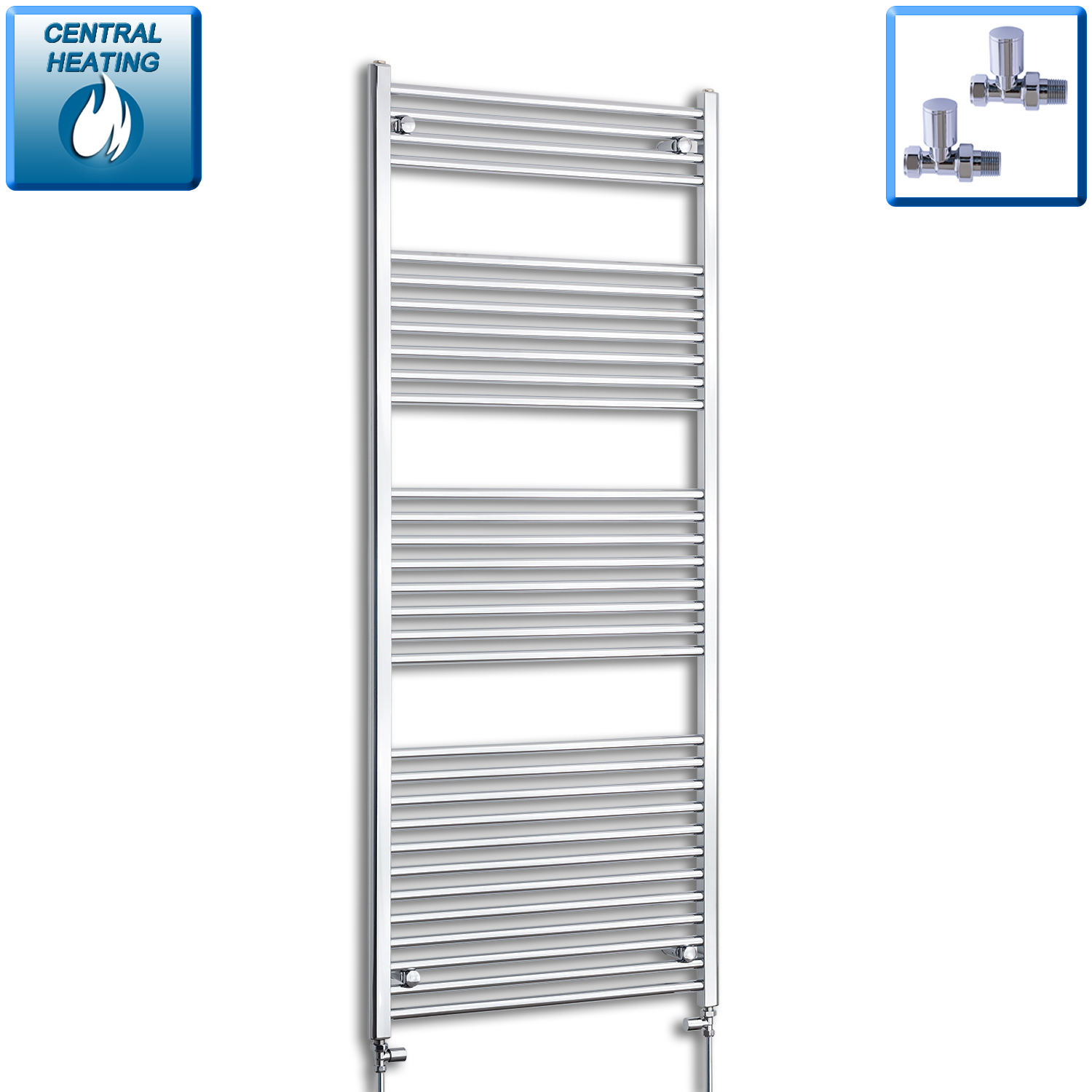 750mm Wide 1800mm High Flat Chrome Heated Towel Rail Radiator HTR,With Straight Valve
