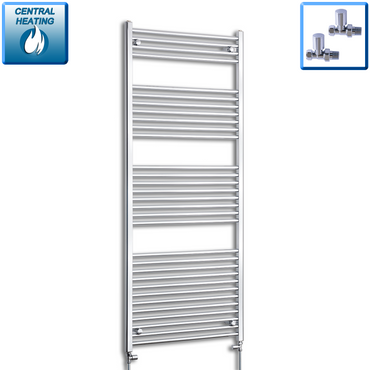 850mm Wide 1800mm High Flat Chrome Heated Towel Rail Radiator HTR,With Straight Valve