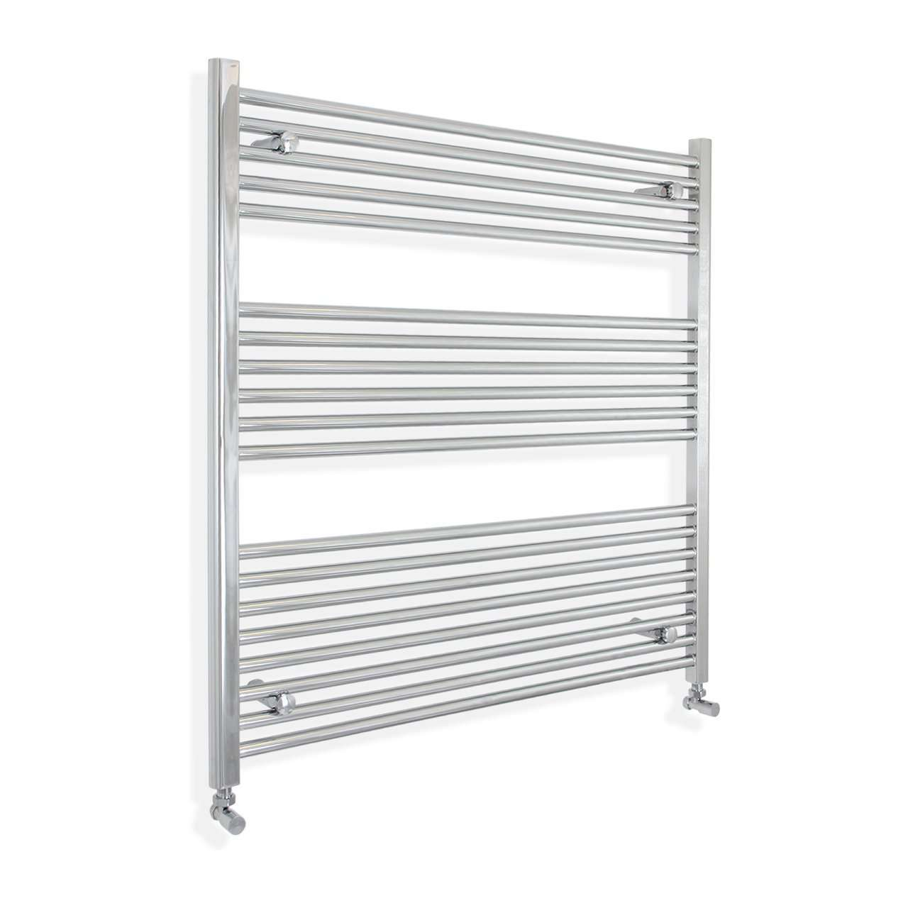 1200mm Wide 900mm High Flat Chrome Heated Towel Rail Radiator HTR,With Angled Valve