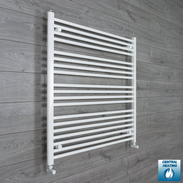 950mm Wide 1000mm High Flat White Heated Towel Rail Radiator HTR,With Angled Valve
