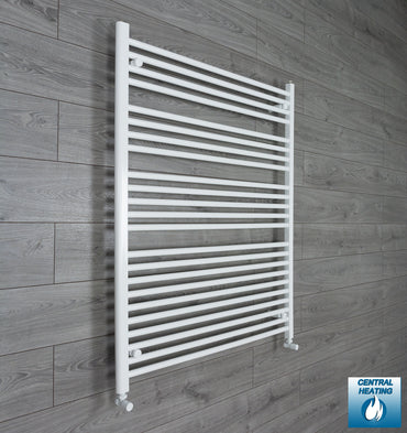 1000mm Wide 1200mm High Flat White Heated Towel Rail Radiator HTR,With Angled Valve