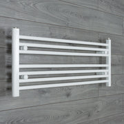 1100mm Wide 400mm High Flat WHITE Pre-Filled Electric Heated Towel Rail Radiator HTR