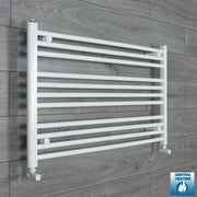 950mm Wide 600mm High Flat White Heated Towel Rail Radiator HTR,With Angled Valve