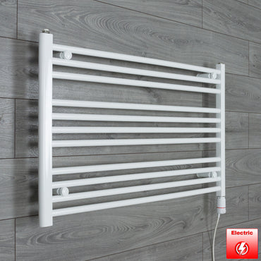 1100mm Wide 600mm High Flat WHITE Pre-Filled Electric Heated Towel Rail Radiator HTR,GT Thermostatic
