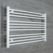 1100mm Wide 600mm High Flat WHITE Pre-Filled Electric Heated Towel Rail Radiator HTR