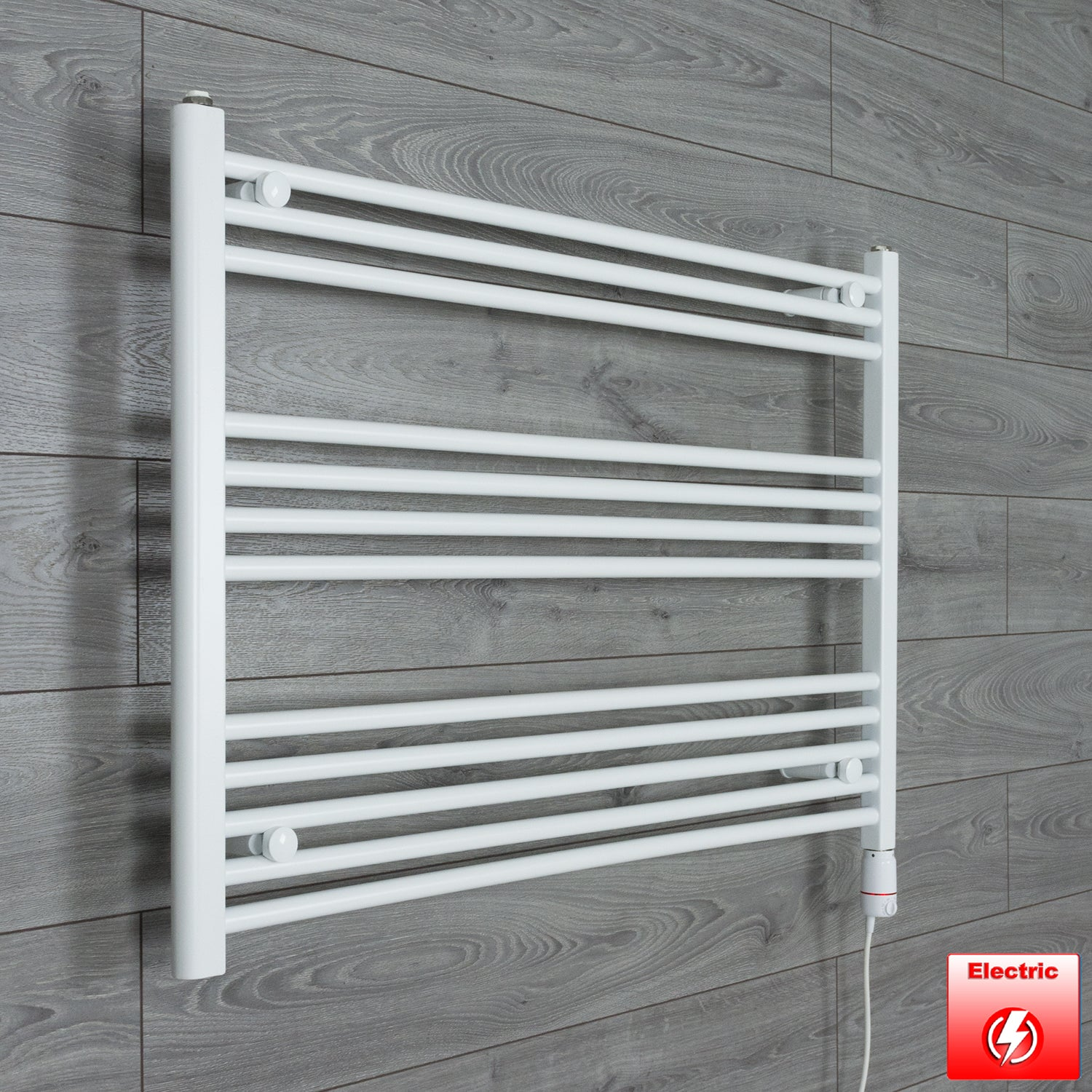 1000mm Wide 700mm High Flat WHITE Pre-Filled Electric Heated Towel Rail Radiator HTR,GT Thermostatic