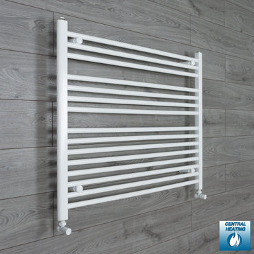 1000mm Wide 800mm High Flat White Heated Towel Rail Radiator HTR,With Angled Valve