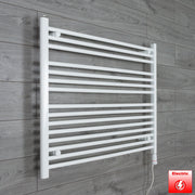 950mm Wide 800mm High Flat WHITE Pre-Filled Electric Heated Towel Rail Radiator HTR,GT Thermostatic