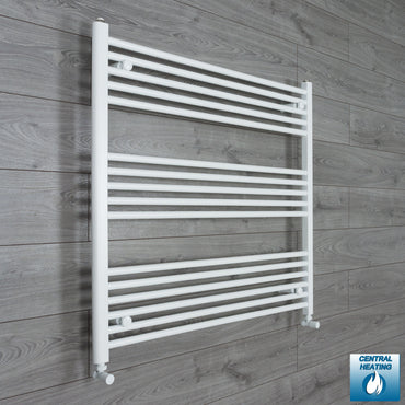 1000mm Wide 900mm High Flat White Heated Towel Rail Radiator HTR,With Angled Valve