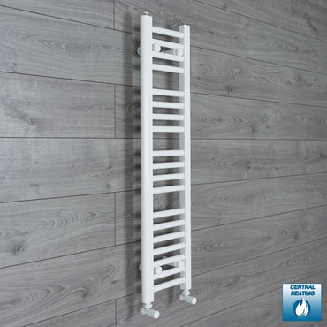 250mm Wide 1000mm High Flat White Heated Towel Rail Radiator HTR,With Angled Valve